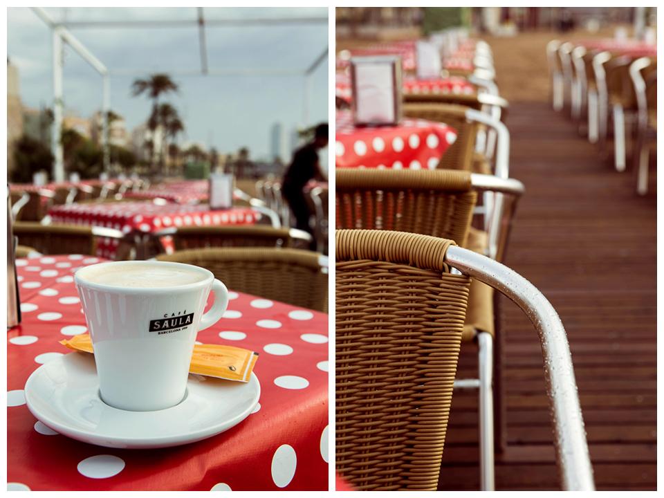 Morning coffee at Barceloneta beach by Lena Karelova photographer based in Barcelona
