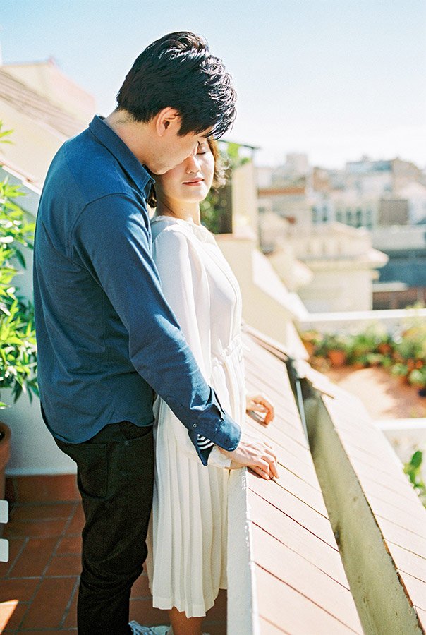 Romantiic portrait of couple on the balcony | Light and Airy Film Photography | Lena Karelova Destination Wedding Photographer