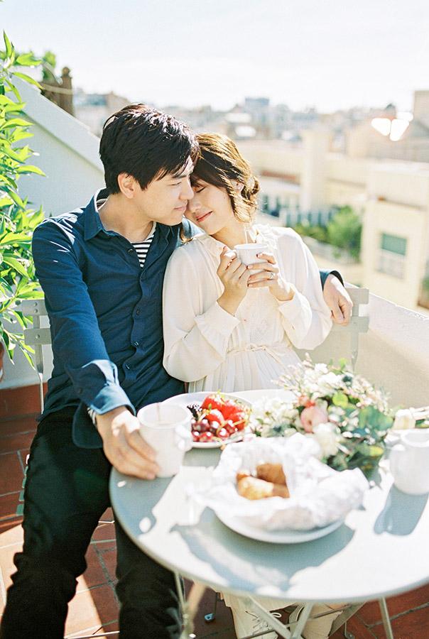 Lovely couple having breakfast on the balcony | Light and Airy Film Photography | Lena Karelova Destination Wedding Photographer