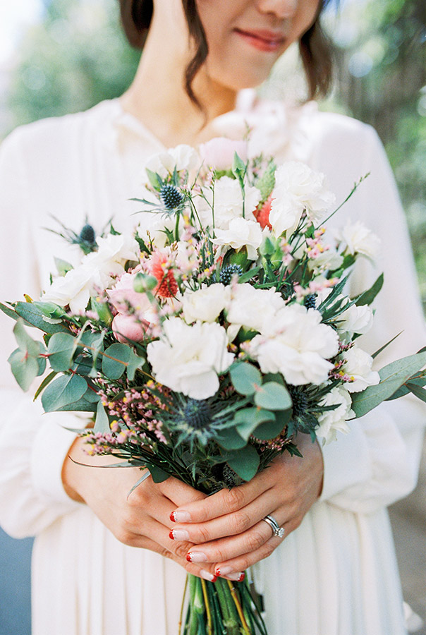 Spring flowers bouquet | Light and Airy Film Photography | Lena Karelova Destination Wedding Photographer