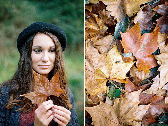Beautiful portrait of a girl with autumn leaves | Collserola Wedding Anniversary Photoshoot | Lena Karelova Barcelona Film Photography