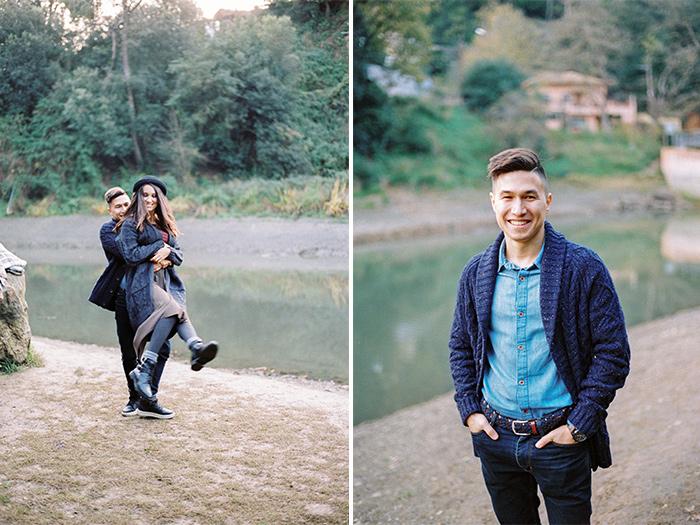Couple having fun | Collserola Wedding Anniversary Photoshoot | Lena Karelova Barcelona Film Photography