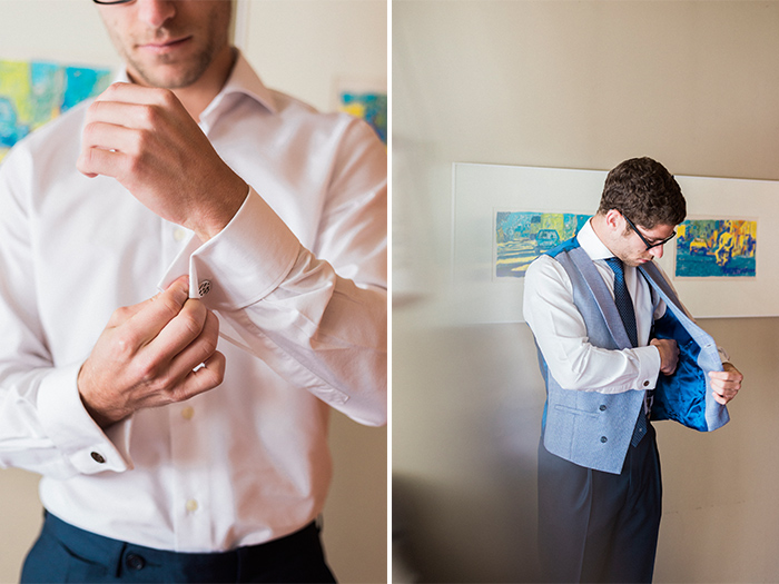 Groom putting his suit |Wedding at Mas Vidrier | Destination Wedding Photographer Barcelona