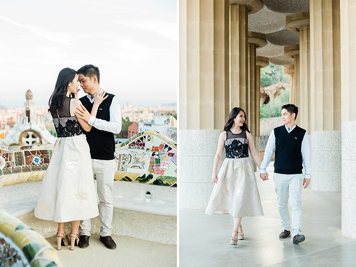Beautiful couple at the Park Guell with amazing view to Barcelona | Barcelona Engagement Photography | Wedding Photographer Barcelona | Top 5 places for engagement in Barcelona
