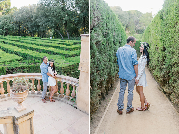 Beautiful couple at Labyrinth Park | Barcelona Engagement Photography | Wedding Photographer Barcelona | Top 5 places for engagement in Barcelona