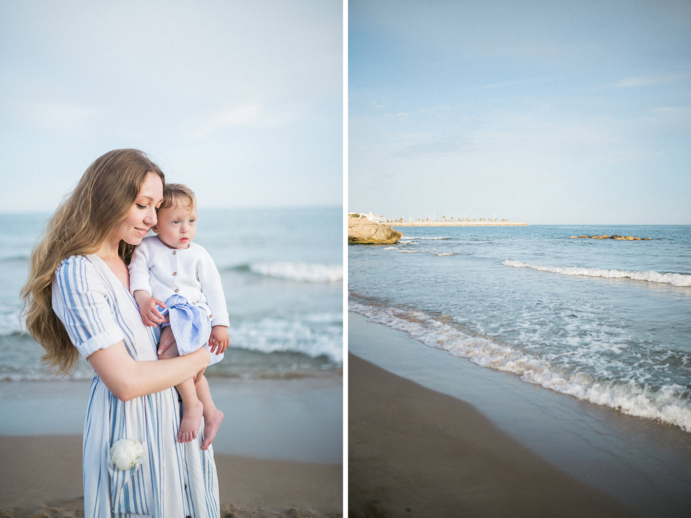 Sitges Family Photographer | Lovely young mother with her little dauther on the beach | Lena Karelova Photographer in Barcelona