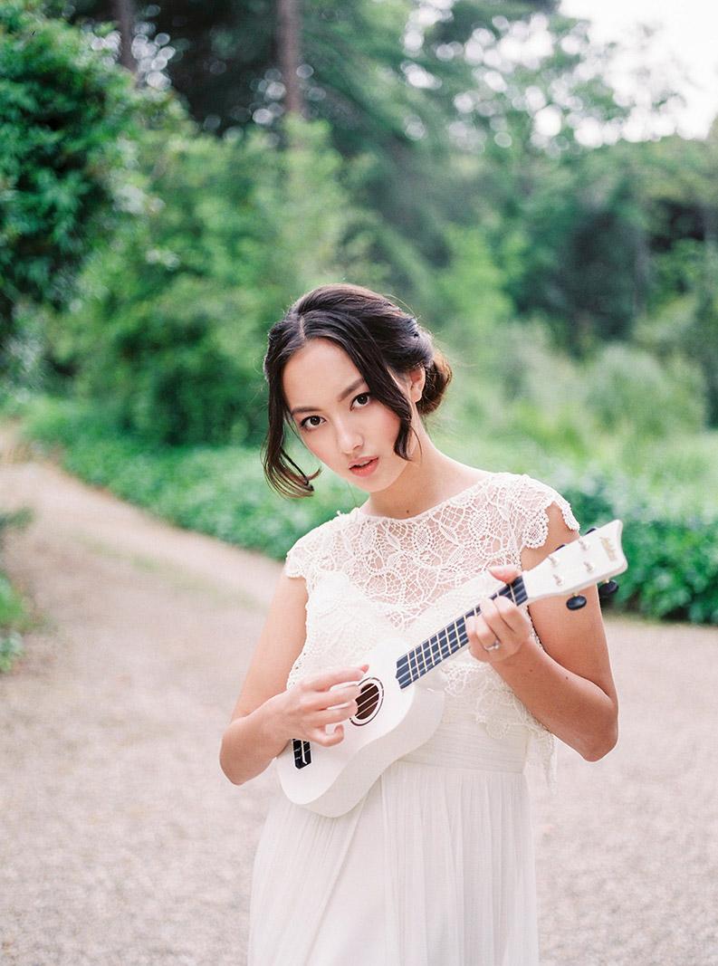 asian bride portrait wearing j.m. peiro wedding gown | destination wedding photographer | film wedding photographer