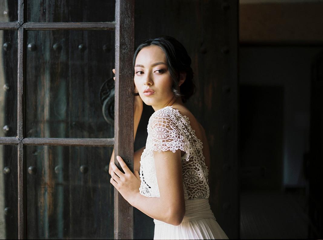 gorgeous asian bride wearing jose maria peiro wedding gown | wedding inspiration at masia egara | destination wedding photographer | film wedding photographer