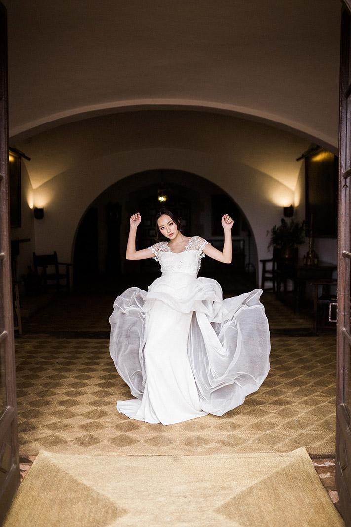 asian bride wearing jose maria peiro wedding gown | wedding inspiration masia egara barcelona | destination wedding photographer | film wedding photographer