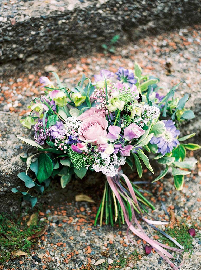 violet and green wedding bouquet | destination wedding photographer | film wedding photographer